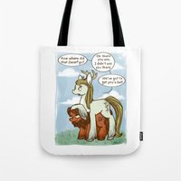 legolas Tote Bags featuring Legolas and Gimli ponies MLP Lord of the Rings Crossover Parody  by BlacksSideshow