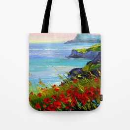 Sea ,rocks,flowers Tote Bag