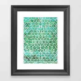 Watercolor Mermaid Emerald Framed Art Print
