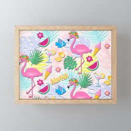 Aloha Pink Flamingo Art Framed Mini Art Print