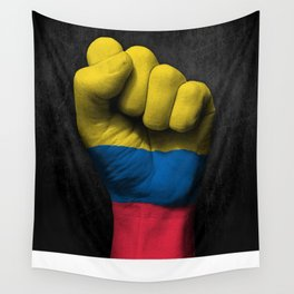 Colombian Flag on a Raised Clenched Fist Wall Tapestry