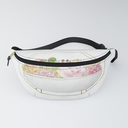 botanical succulent in a golden rack watercolor  Fanny Pack