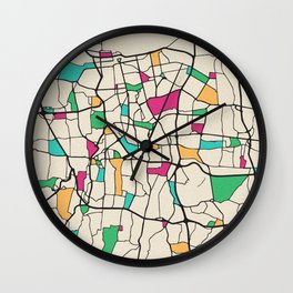 Colorful City Maps: Jakarta, Indonesia Wall Clock