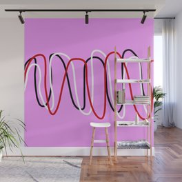 Abstract Red Black White Lines on Pink Wall Mural