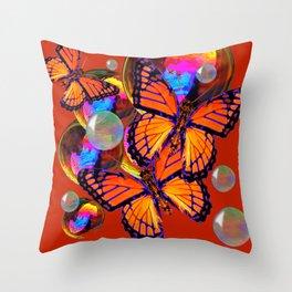DECORATIVE MONARCH BUTTERFLIES & SOAP BUBBLES  ON TURMERIC  COLOR ART Throw Pillow