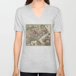 Vintage Map of America (1720) Unisex V-Neck