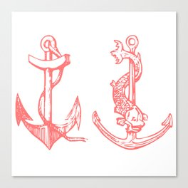 2 Anchors Logo Pink Canvas Print