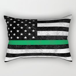 Thin Green Line Flag Rectangular Pillow