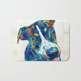 Colorful Dog Art - Happy Go Lucky - By Sharon Cummings Bath Mat