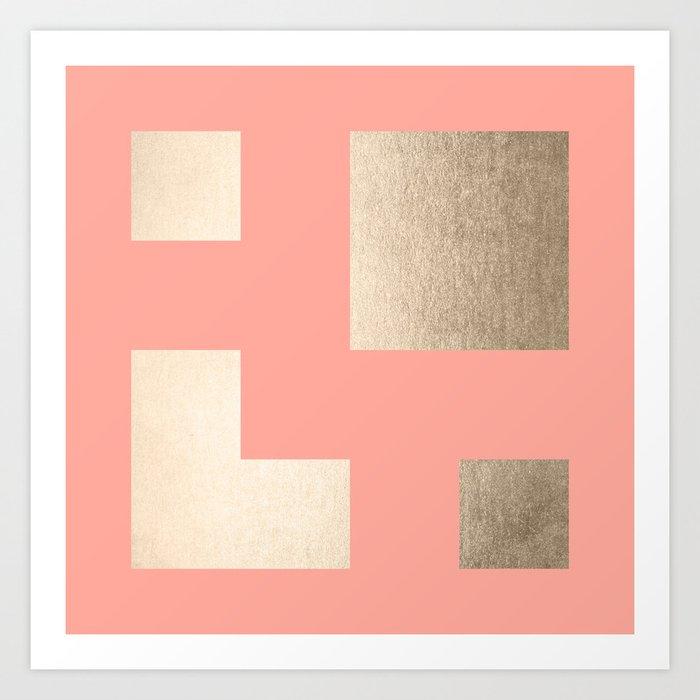 Simply Geometric White Gold Sands on Salmon Pink Kunstdrucke