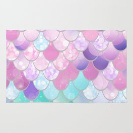 Mermaid Sweet Dreams, Pastel, Pink, Purple, Teal Rug