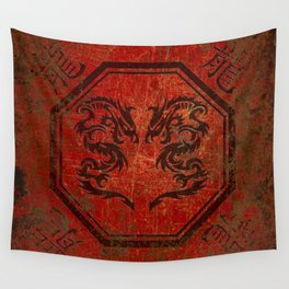 Distressed Dueling Dragons in Octagon Frame With Chinese Dragon Characters Wall Tapestry