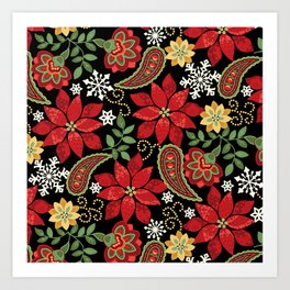 Christmas Poinsettia Paisley Art Print