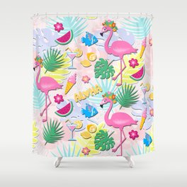 Aloha Pink Flamingo Art Shower Curtain