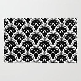 Fan Pattern Black & White 201 Rug