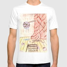 Furry Paint Monster MEDIUM White Mens Fitted Tee
