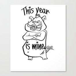 Pig Cartoon Funny illustration Canvas Print