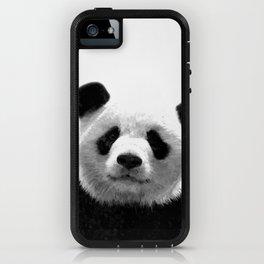 Black and white panda portrait iPhone Case