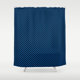 Lapis Blue and Black Polka Dots Shower Curtain