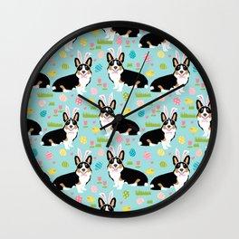 Corgi easter dog breed pattern pet art tricolored corgis easter dog lover gifts Wall Clock