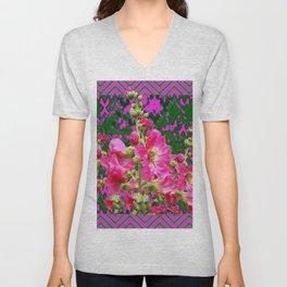 Decorative Fuchsia & Green Hollyhocks Garden Pattern Art Unisex V-Neck