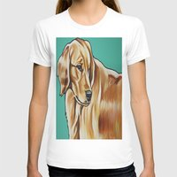 golden retriever T-shirts featuring Golden Retriever Painting by Cheney Beshara