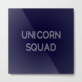 Unicorn Squad - Navy Blue and White Metal Print