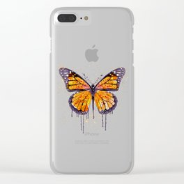 Monarch Butterfly watercolor Clear iPhone Case