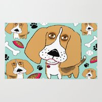 snoopy Area & Throw Rugs featuring Beafus the Bad Boy Beagle by Amy Gale