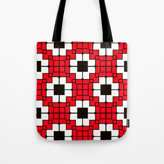 Retro Mosaic Red & Black Tote Bag