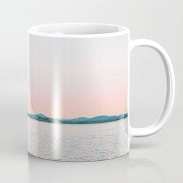 Pink, Blue, Landscape, Water, Nature, Modern art, Scandinavian, Art, Minimal, Wall art Coffee Mug
