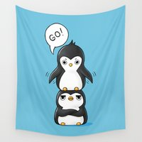 penguins Wall Tapestries featuring Penguins by Freeminds