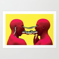 Red Figures Embracing Art Print