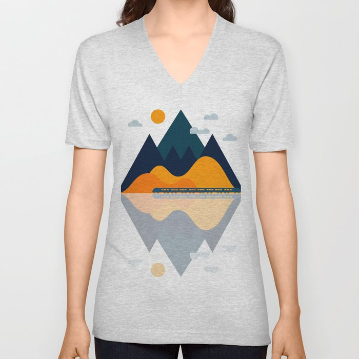 Fall Train Rides Through the Mountains Unisex V-Neck