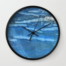 Blue abstract watercolor Wall Clock