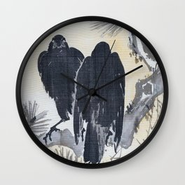 Two Crows On A Pine Branch - Digital Remastered Edition Wall Clock