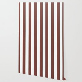 Bole brown - solid color - white vertical lines pattern Wallpaper