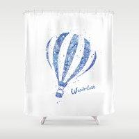 hot air balloon Shower Curtains featuring Hot Air Balloon by Carma Zoe