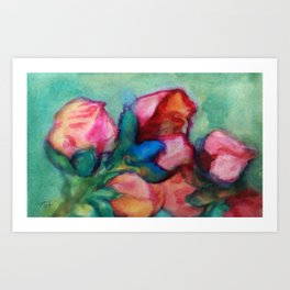 bloom red green Art Print