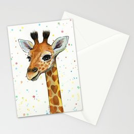 Giraffe Baby Animal with Hearts Watercolor Stationery Cards