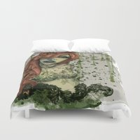 poison ivy Duvet Covers featuring Poison Ivy v1 by Hallowette
