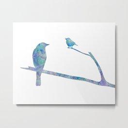 Birds On Branch Watercolor Painting Metal Print