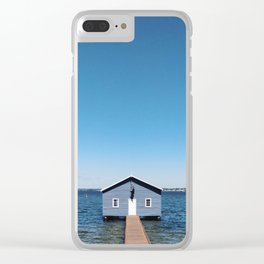 A Blue Boat House, Sky and Harbour in Perth, Western Australia Clear iPhone Case