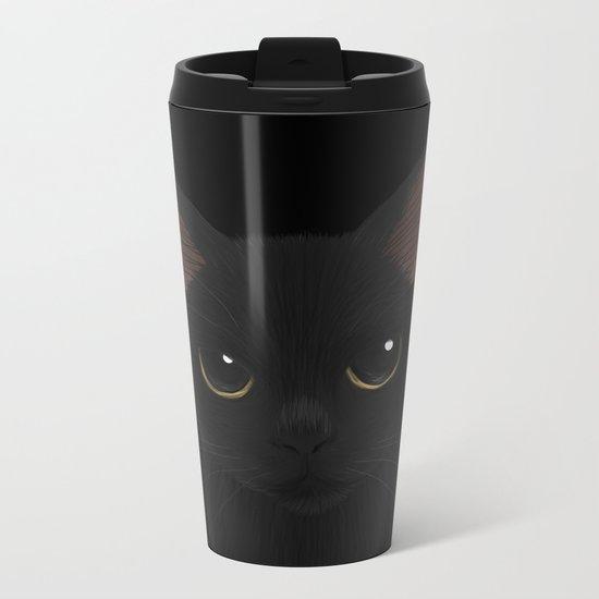 Black cat in black Metal Travel Mug