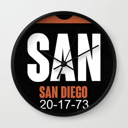 SAN San Diego Luggage Tag 3 Wall Clock