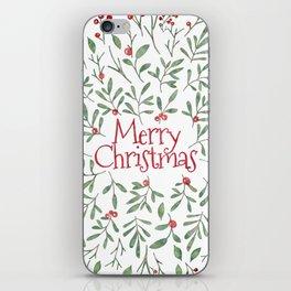Watercolor Mistletoe iPhone Skin