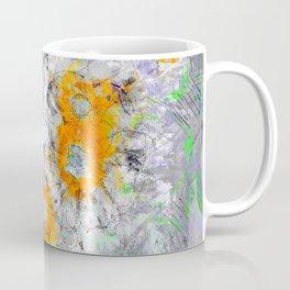 Abstract Floral Mixed Media Watercolor Ink Painting , orange & aqua Coffee Mug