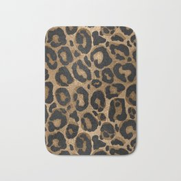 Golden and Black glitter  Leopard/ Jaguar print Bath Mat