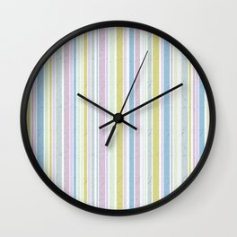 Multicoloured striped pattern in pastel shades Wall Clock