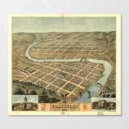 Vintage Map of Frankfort Kentucky Canvas Print
